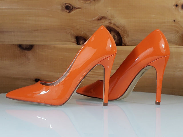 "Red Cherry Gigi Orange Patent Pointy Toe Pump Shoe 4"" Stiletto High Heels"