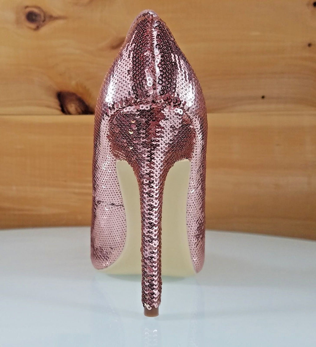 "CR Priscilla Rose Gold Sequin Pointy Toe Pump 4.5""  High Heel Shoes"