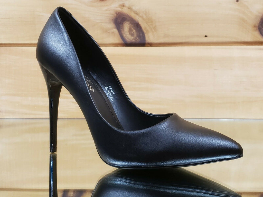 "Fabio Black Matte Leatherette 4.5"" High Heel Shoes Pointy Toe Pump 7-11"