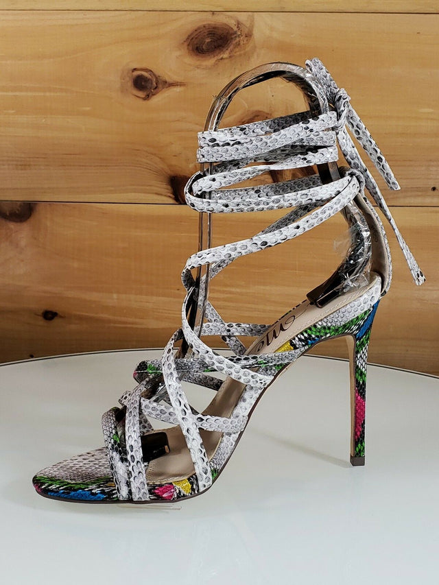 "Rhean Multi Snake Open Toe Strappy Stiletto - 4.5"" High Heel Shoes"