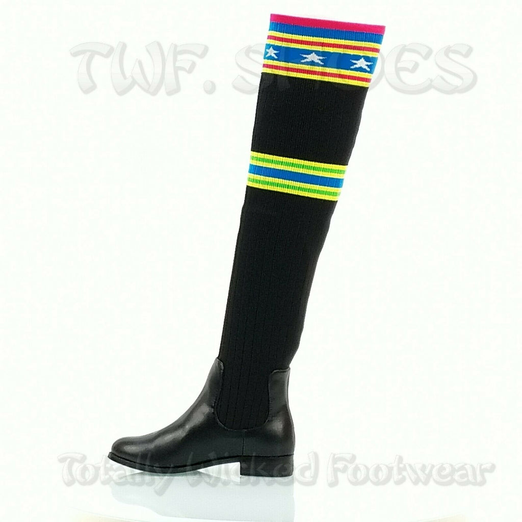 CR Metis Knit Thigh High Sock Boot Flat Riding Boots Heels 6 -11 Black Neon