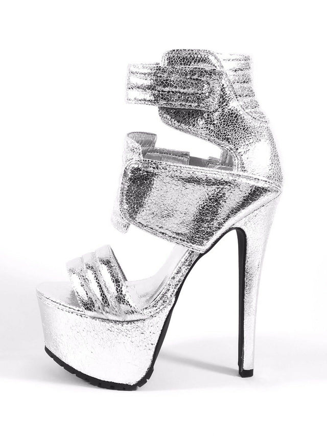 "Privileged Drama Silver Open Toe Platform 6.5"" Stiletto High Heel Shoes"