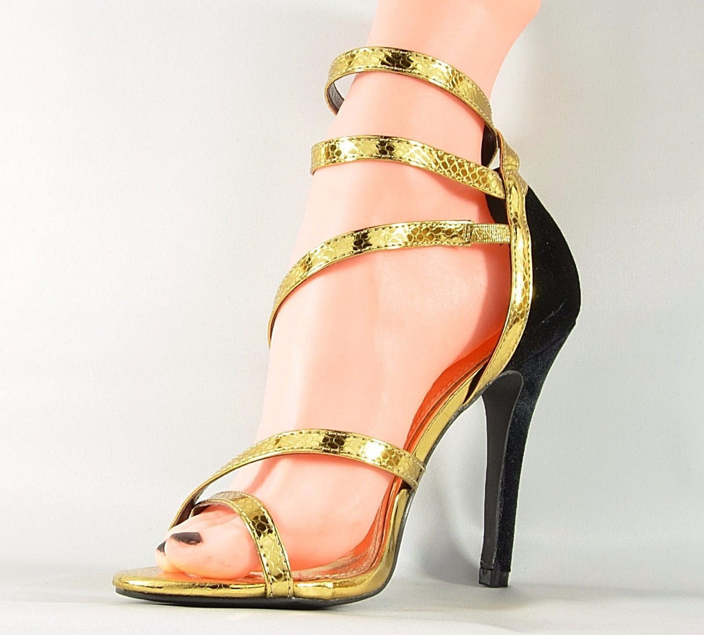 "Cape Robbin Suzy 39 Gold Snake & Black Velvet 4.5"" High Heel Sandal Shoes"