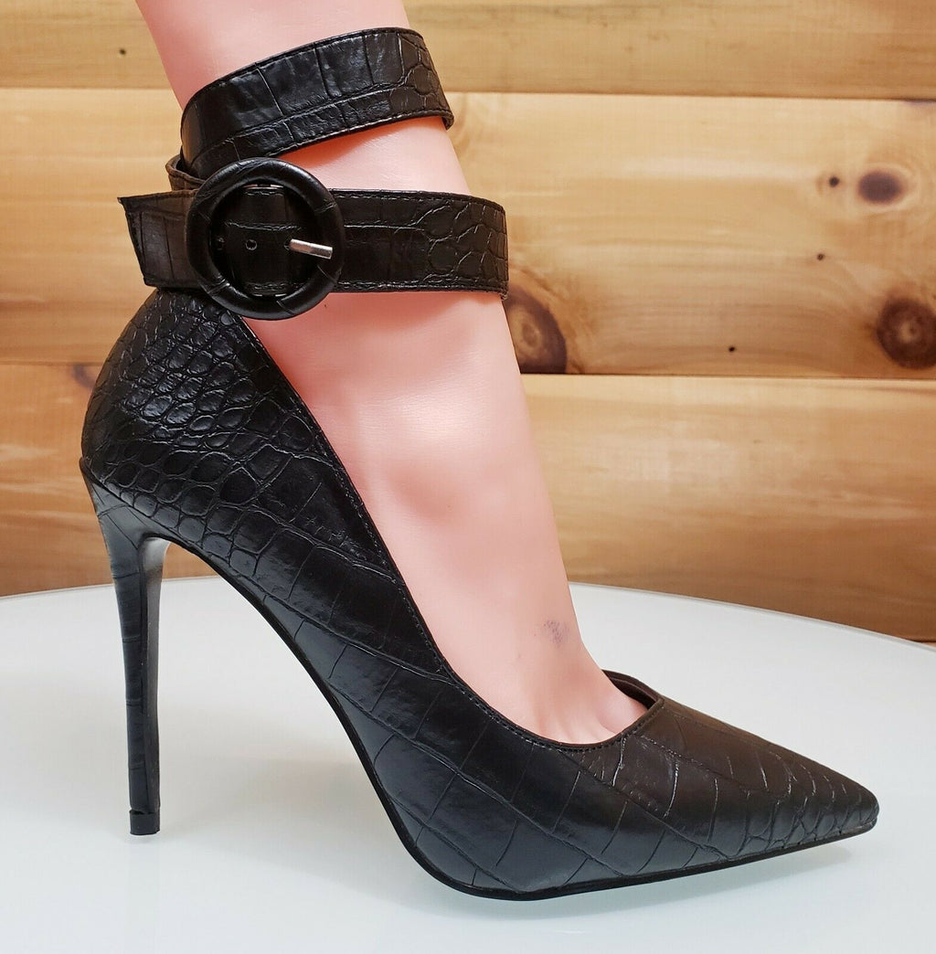 CR Armor Snake Textured Pumps Ankle Strap High Heel Shoes Black