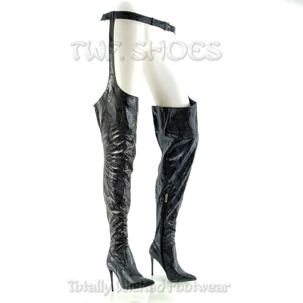 """CR Toxic Neon Lime Open Pointy Toe OTK Wide Top Thigh Boot 4.5/"""" High Heel 6-11"""