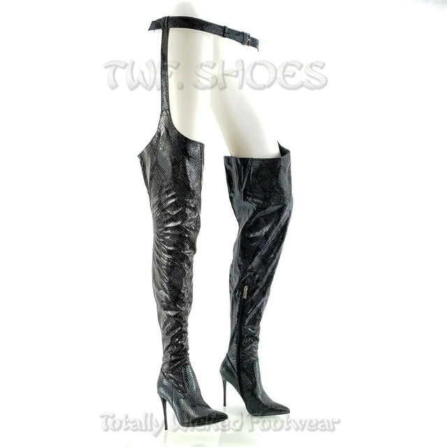"CR Black Boa Snake Chaps Belted Thigh Boots Pointy Toe 4"" High Heel 6-11"