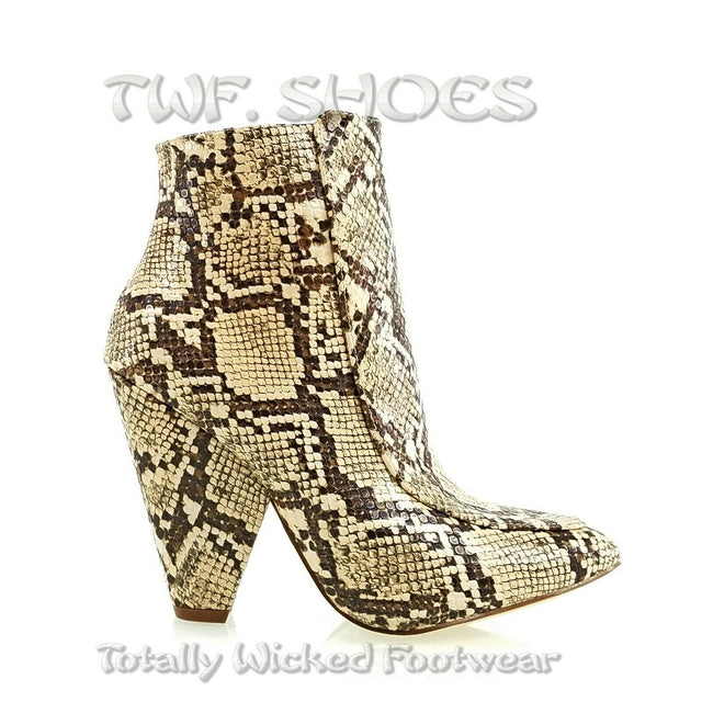 "Vipes Beige Snake Pointy Toe Modern Cowgirl 4"" Cone Heel Ankle Boots Shoe"