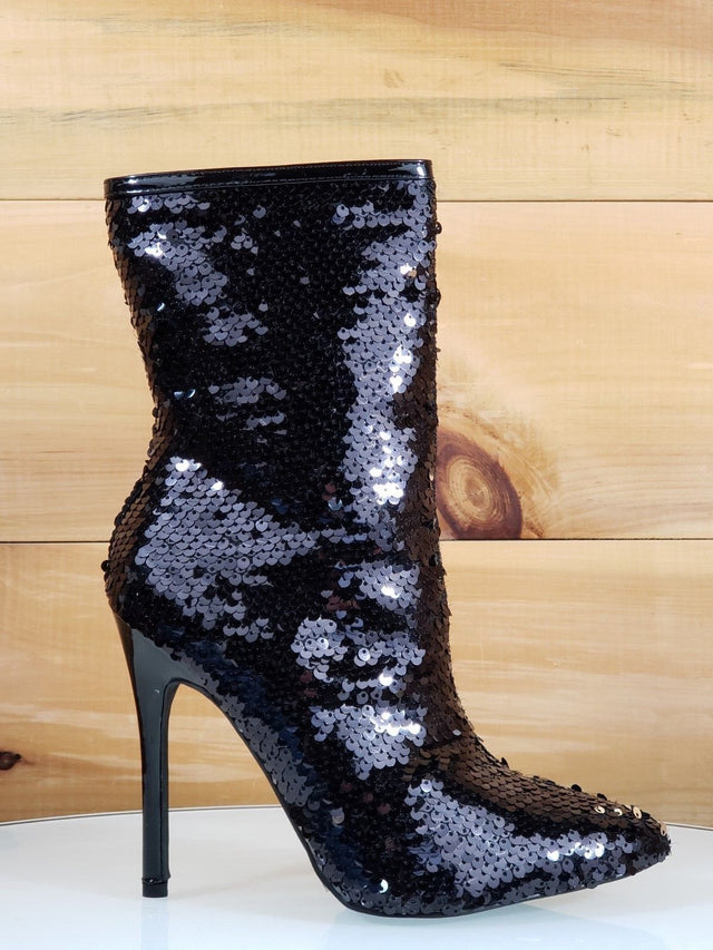Black Sequin Ankle Boot