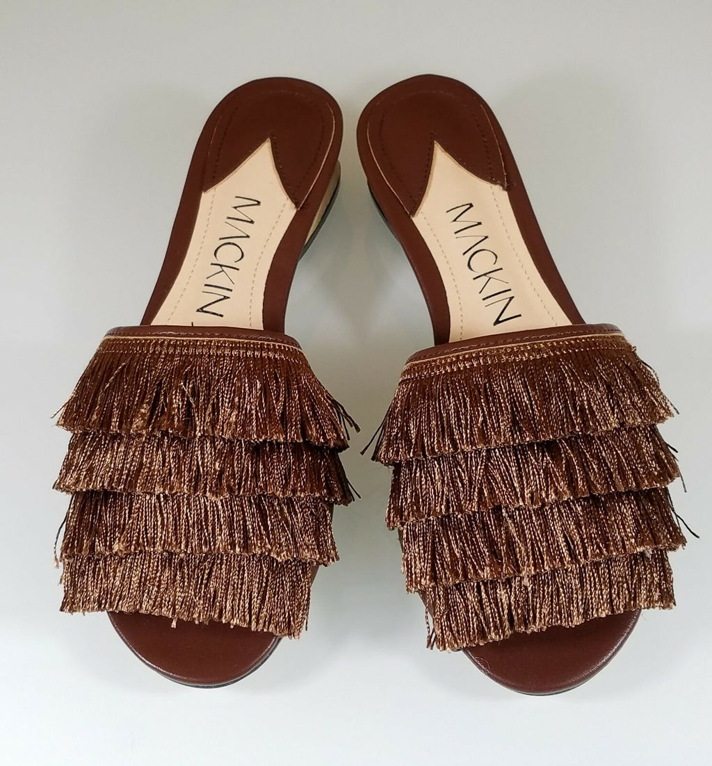 Mac J  Bronze Camel Fringe Slip On Flats Mules Clog Slipper Shoe 6-11