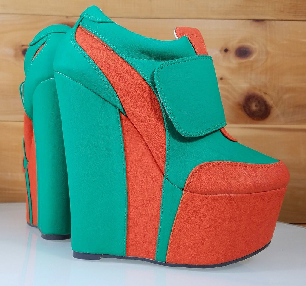 Mona Mia Gab Orange Green High Heel Platform Wedge Ankle Boot Shoes 6-10