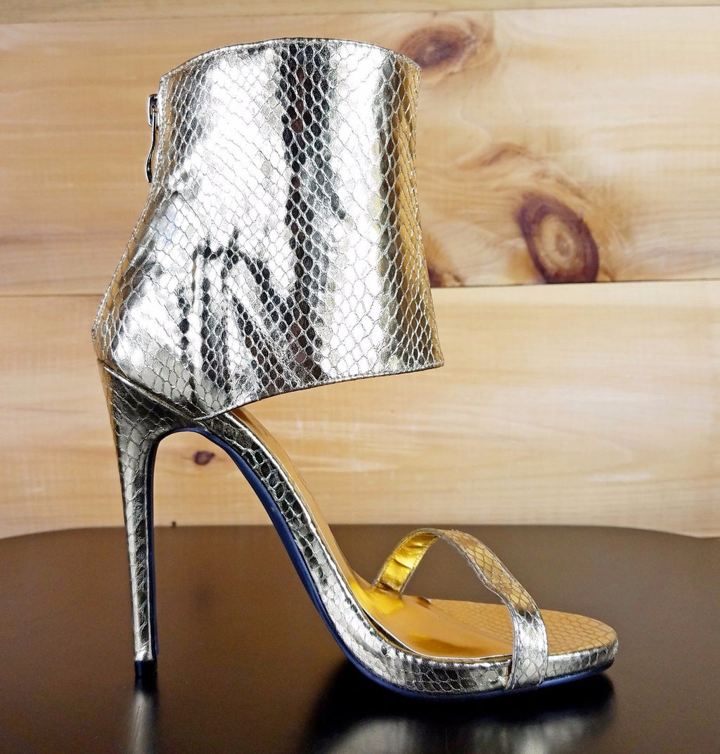 "Nelly Bernal Queen Royal Gold Snake 4.5"" Heel Mini Platform High Ankle Cuff Shoe"