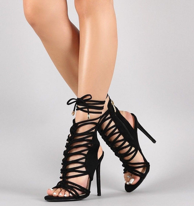 "So Me Lucy Strappy Knotted Detail 4.5"" High Heel Shoe Black"