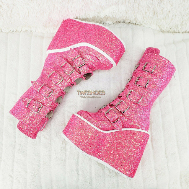 "Swing 230G Pink Glitter Boot 5.5"" Platform Heart Strap Goth Boots 6 -11  NY - Totally Wicked Footwear"