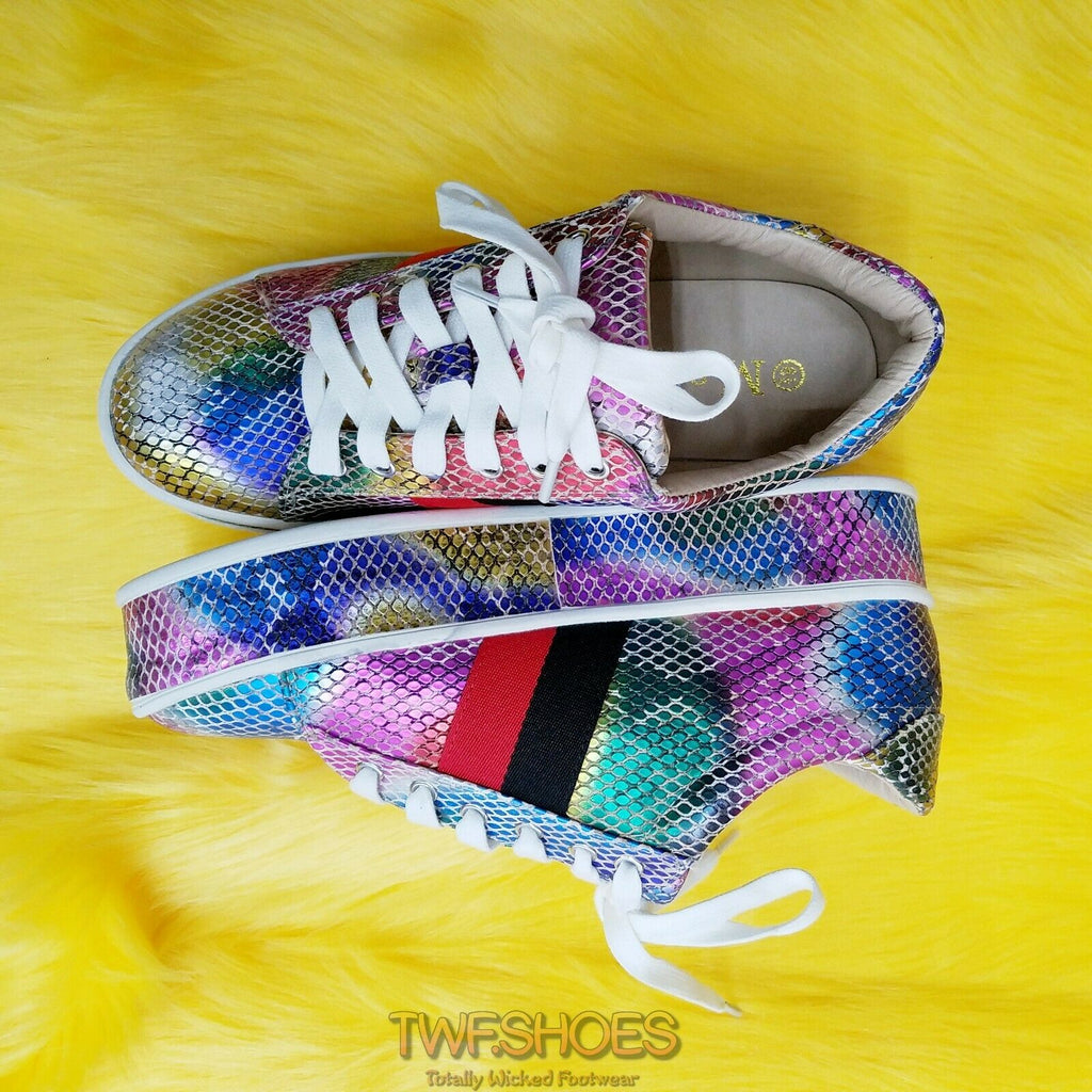 Woman's Rainbow Snake Platform Fashion Sneakers Coco Rubber Sole 6-10