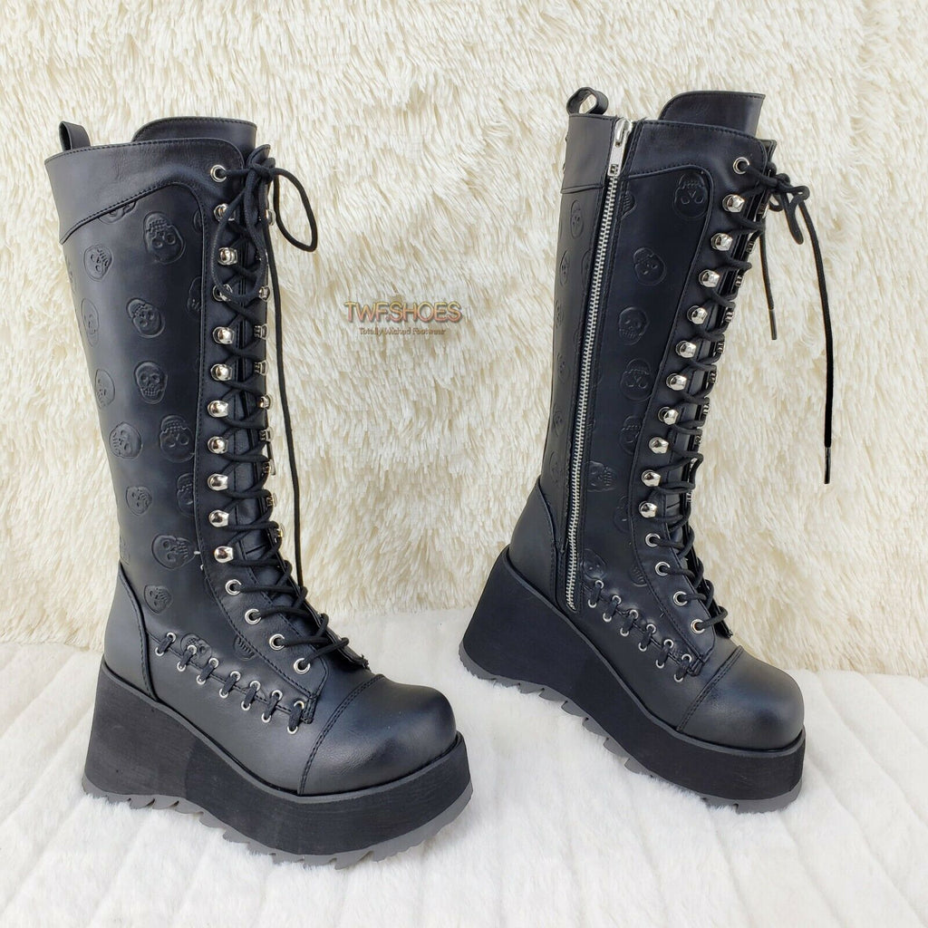 Demonia Scene 107 Black Platform Goth Punk Skull Shaft Knee Boots NY IN STOCK - Totally Wicked Footwear