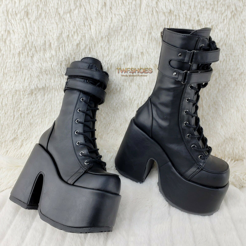 Demonia Camel 250 Stacked Black Matte Platform Goth Punk Calf Boot IN STOCK NY - Totally Wicked Footwear