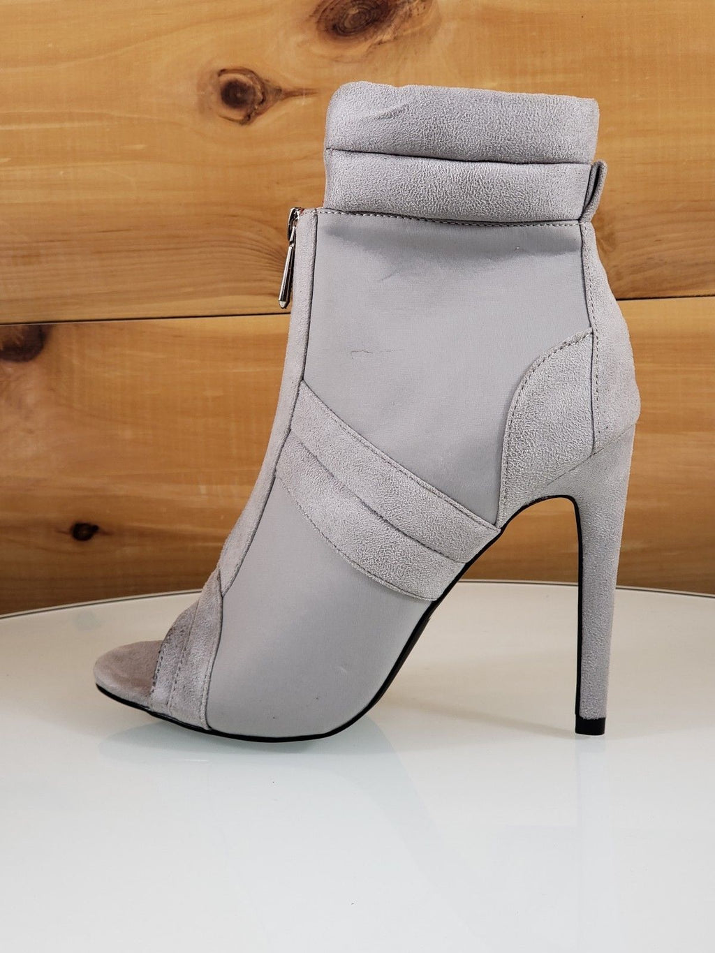 "CR June Gray Front Zipper 4"" High Heel Ankle Boot Shoes"