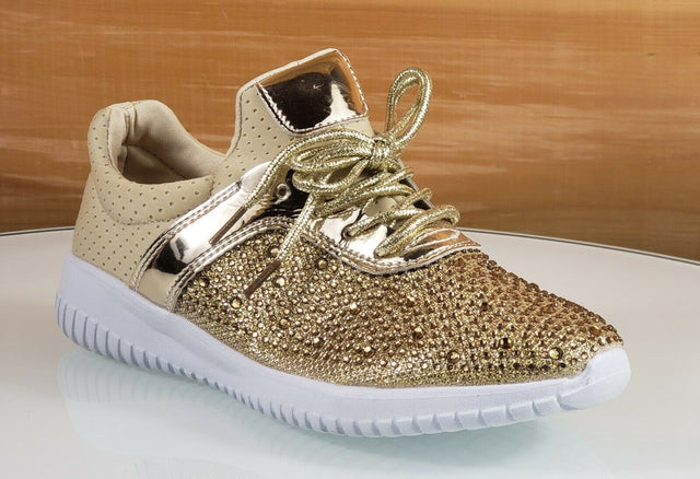 Octavia Woman's Rhinestone Fashion Sneaker Gold 6 - 10