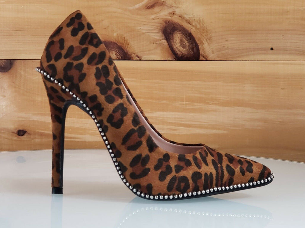 C & C Lala Leopard Vegan Suede Ball Stud Trim Pointy Toe High Heel Pumps