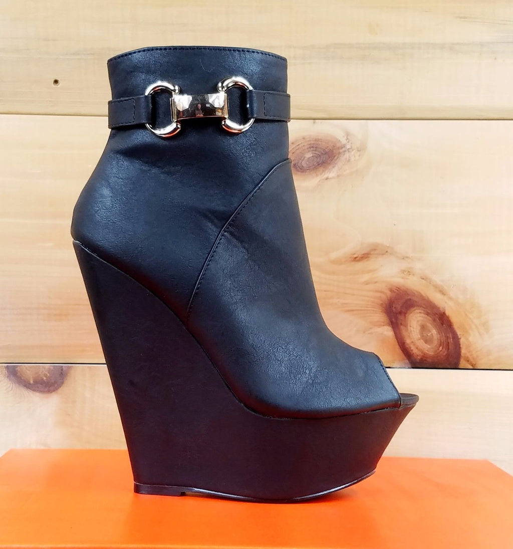 Mona Mia India Open Toe Platform Wedge Ankle Boot Shoes Black 6-10