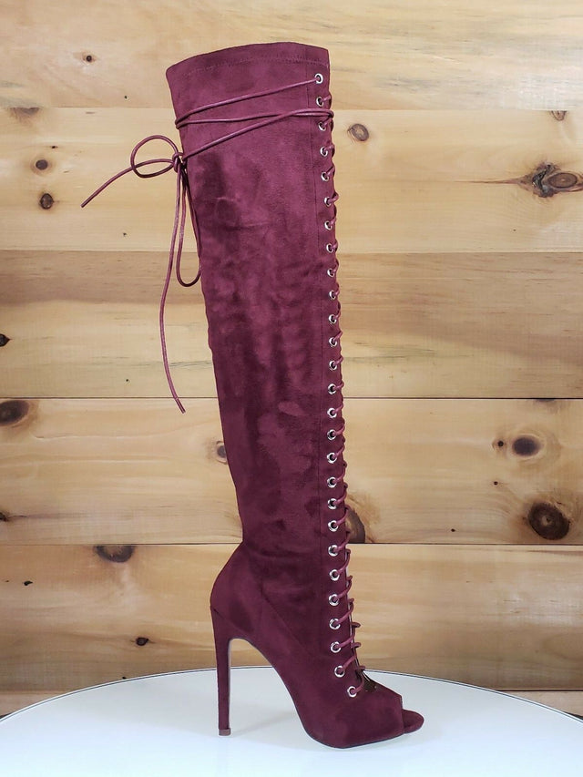 C&C Red Wine Vegan Suede Open Toe Lace Up Above Knee High Heel Boot