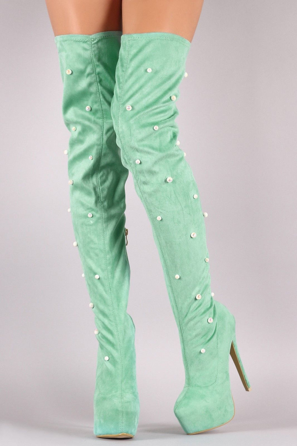TS Soft Mint Green Pearl Detail Platform Thigh High Heel Boots 6.5-11