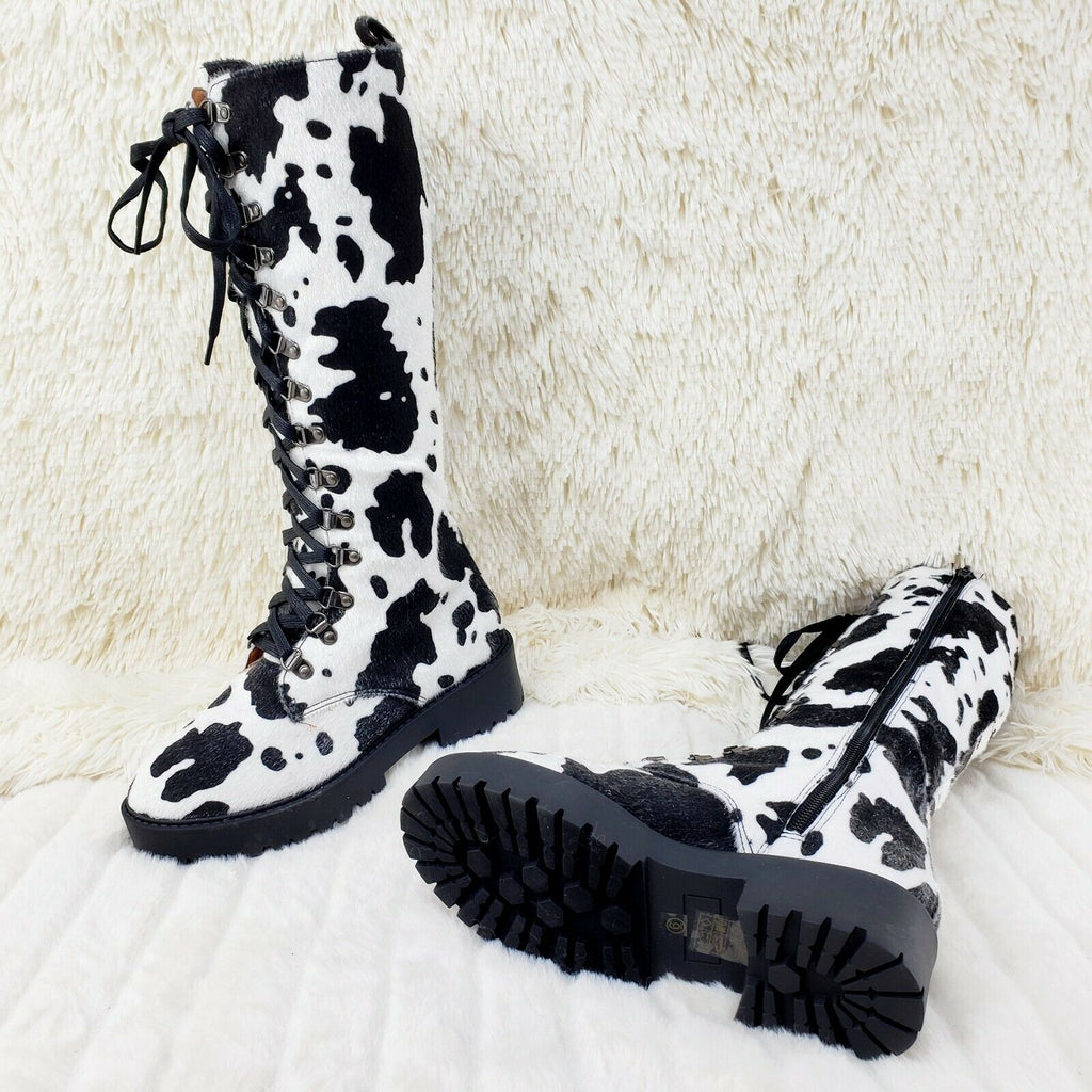 Savage Goth Punk Rock Faux Cow Fur Lace Up Platform Combat Knee Boots - Totally Wicked Footwear