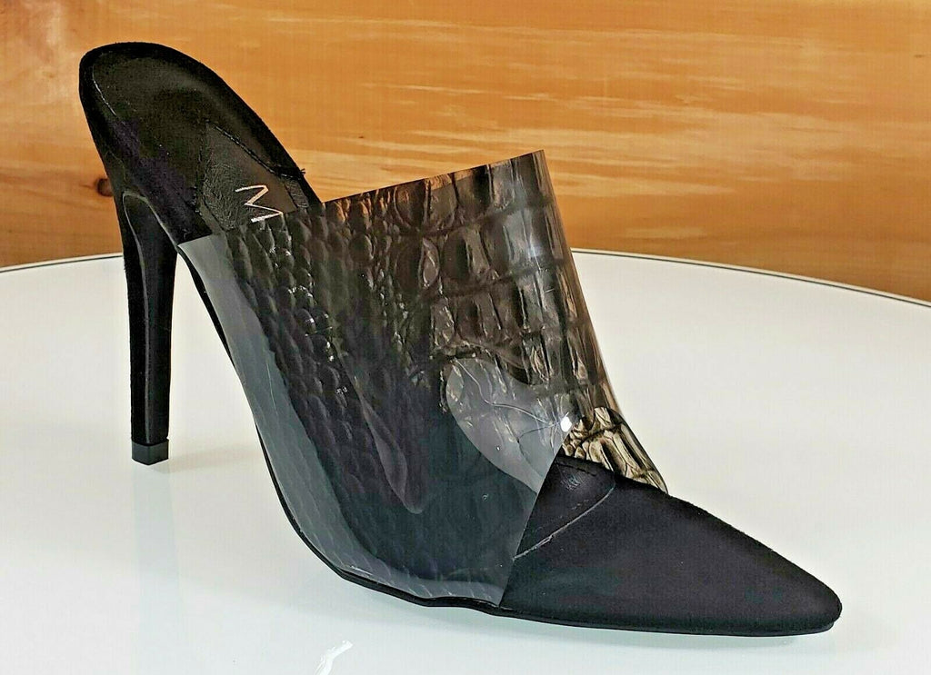 "Mac J Black Transparent Snake/Croc Print Slip On Open Pointy Toe 4.5"" Heel Shoe"