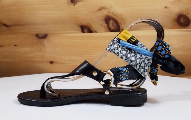 Cape Scarf Wrap Flat Thong Sandal Black Casual Dressy Summer Shoes