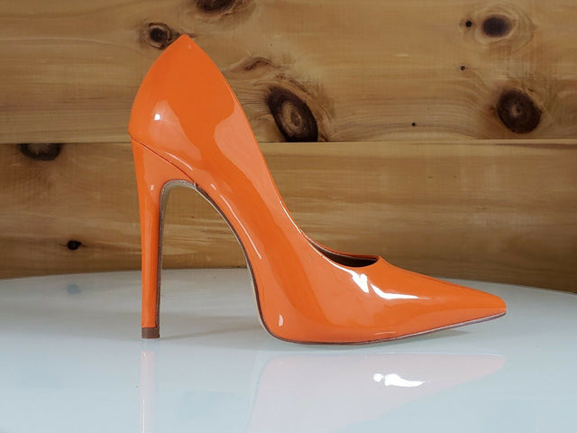 "Red Cherry Milly Orange Patent Pointy Toe Pump Shoe 4.5"" Stiletto High Heels"