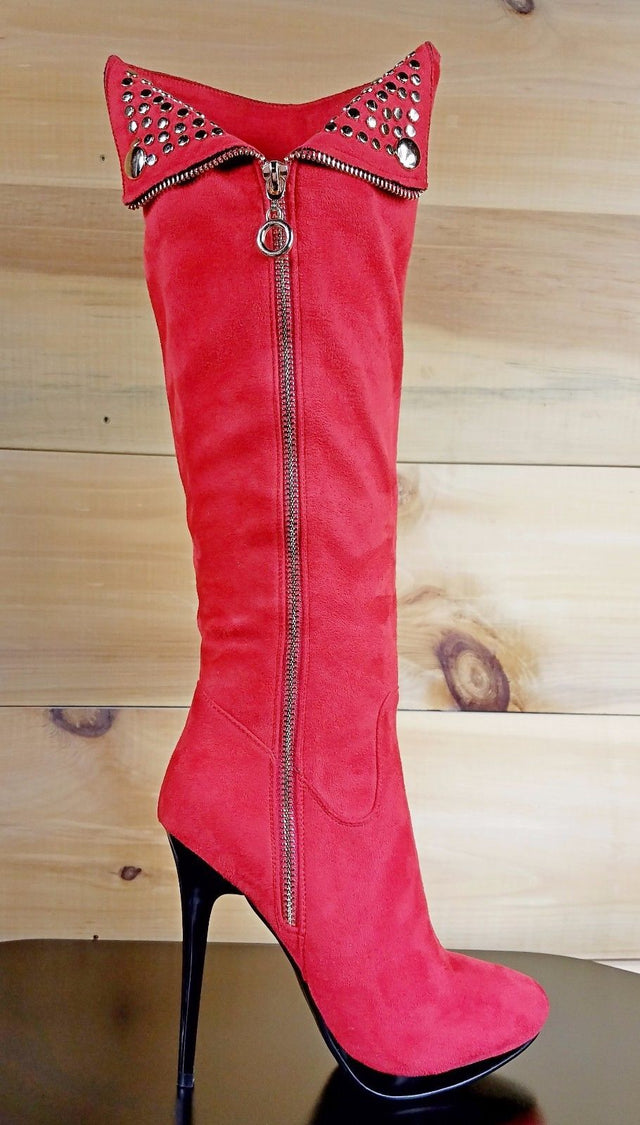 Luichiny Party Girl Red Vegan Suede Knee Boot Zipper Decor Mini PF Stiletto Heel