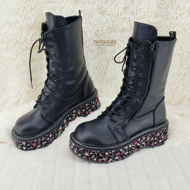 "Demonia Emily 350 Black Matte Floral 2"" Platform Combat Boots Restocked NY - Totally Wicked Footwear"