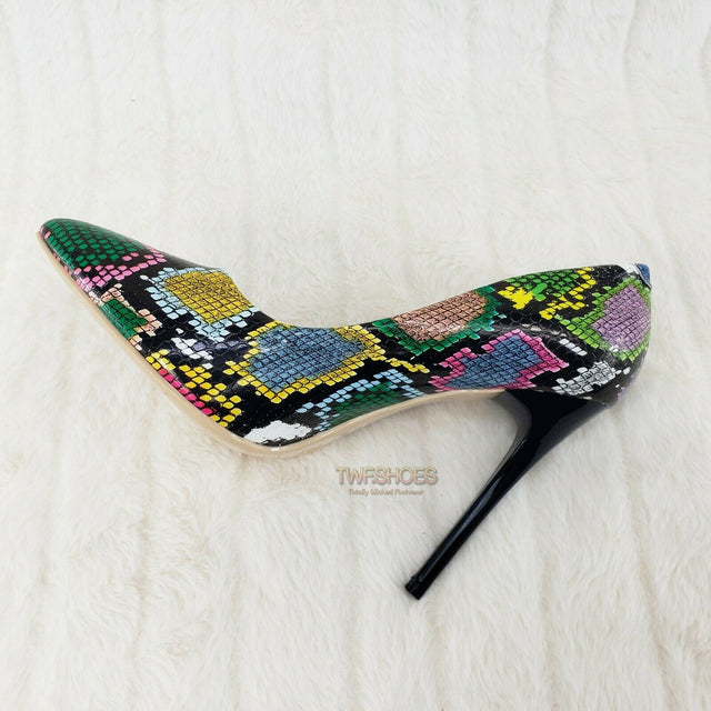 "Fabio Multi Snake Leatherette 4.5"" High Heel Stiletto Shoes Pointy Toe Pump 7-11"