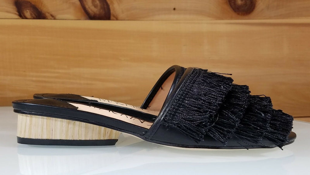 Mac J  Black Fringe Slip On Flats Mules Clog Slipper Shoe 6-11