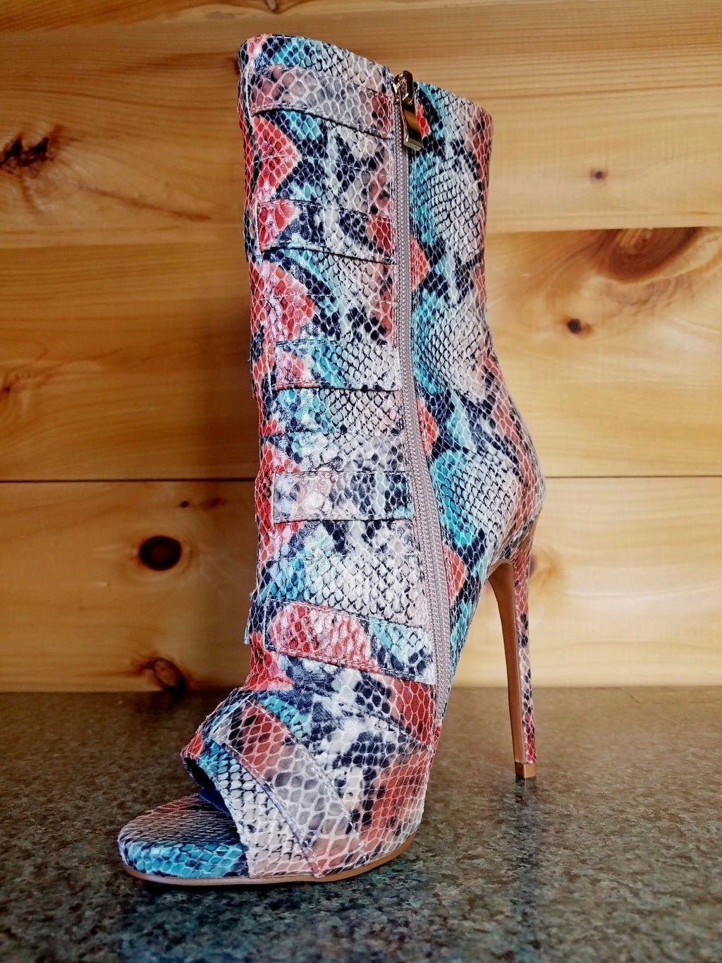 Nelly Bernal Lola Copper Teal Multi Snake Open Toe 4.75 Heel Ankle Boot
