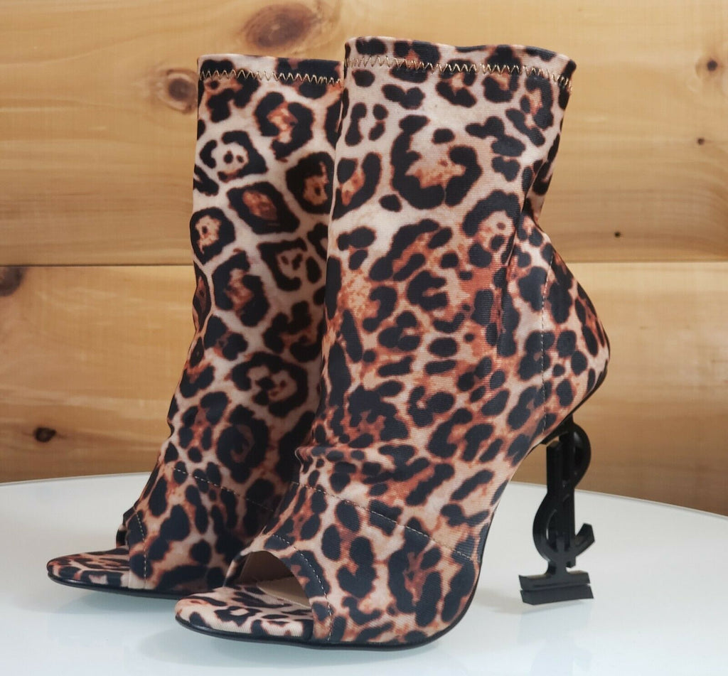 "CR Infinite Leopard Stretch Slip On Ankle Boot 5"" Money Sign Symbol High Heel"