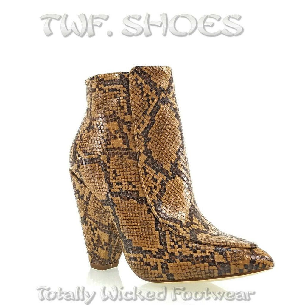 "Vipes Tan Snake Pointy Toe Modern Cowgirl 4"" Cone Heel Ankle Boots Shoe"