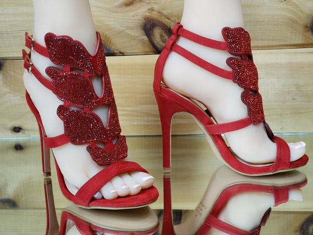 "Bella Luna Fairy Wings 4.25"" High Heel Sandal Stiletto Shoe Red 6-10"