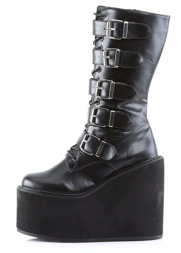 "Swing 220 Black Matte Multi Buckle Goth Mid-Calf Boot 5.5"" Platform"