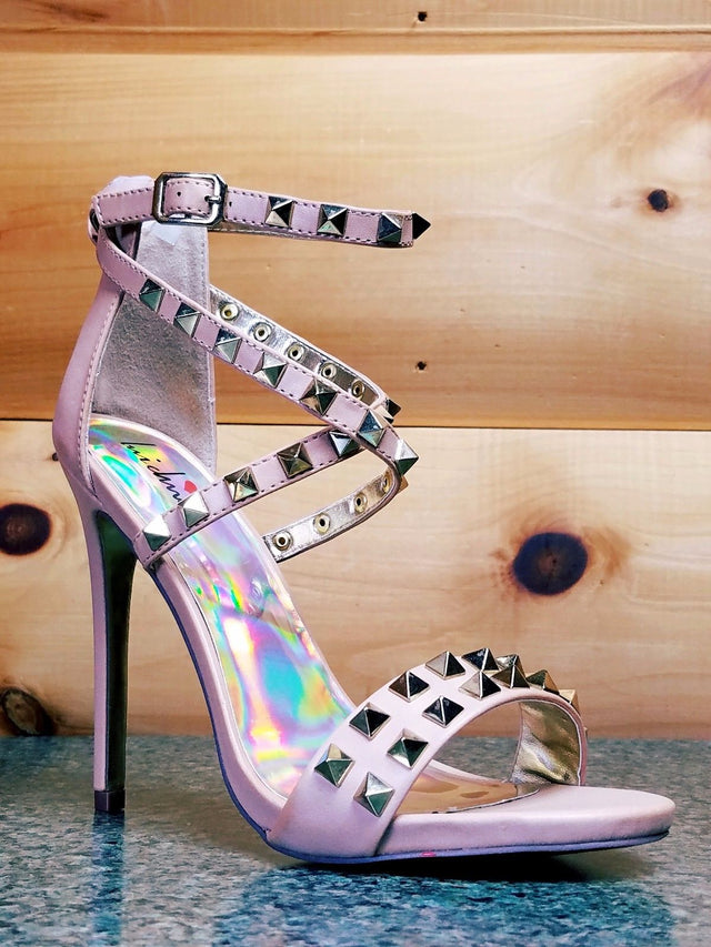 "Luichiny Humor Riot Nude Leatherette Gold Stud Cross Strap Sandal Shoe 5"" Heel"