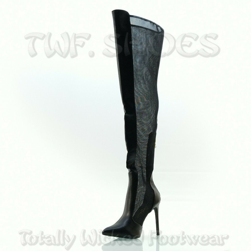 So Me Sexy Kitty Black Mesh Pointy Toe Thigh High Heels Boots 6.5 - 11