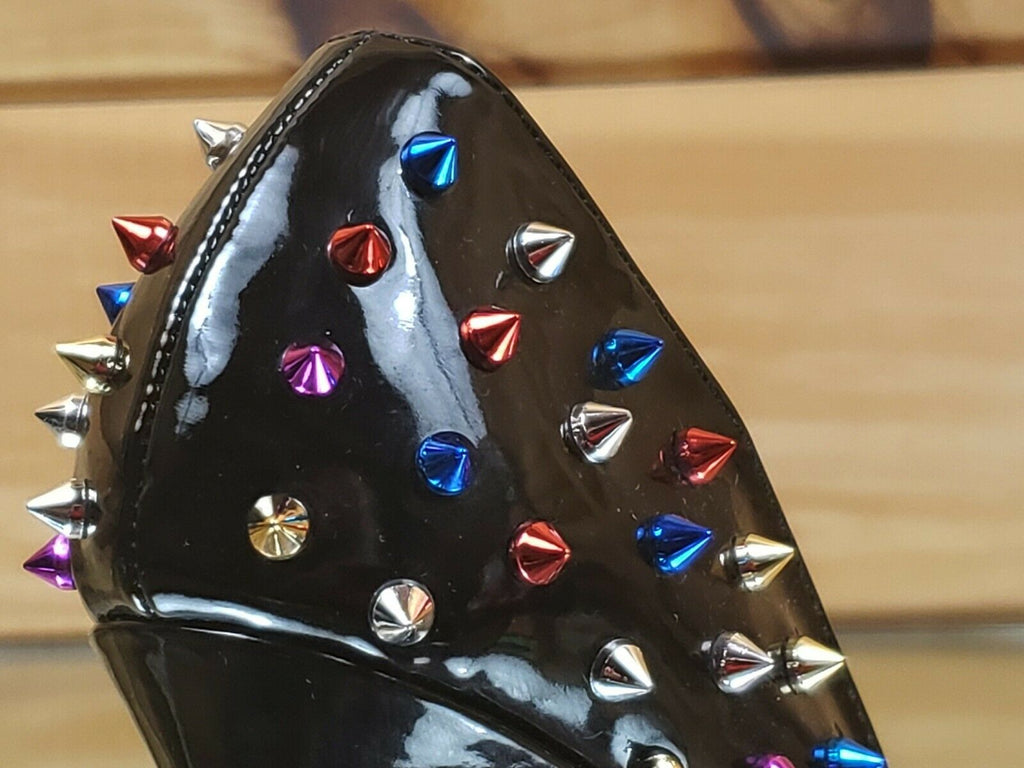 "Ricky Black Patent Multi Color Spike Stud Pointy Toe Pump Shoe 4.5"" High Heels"