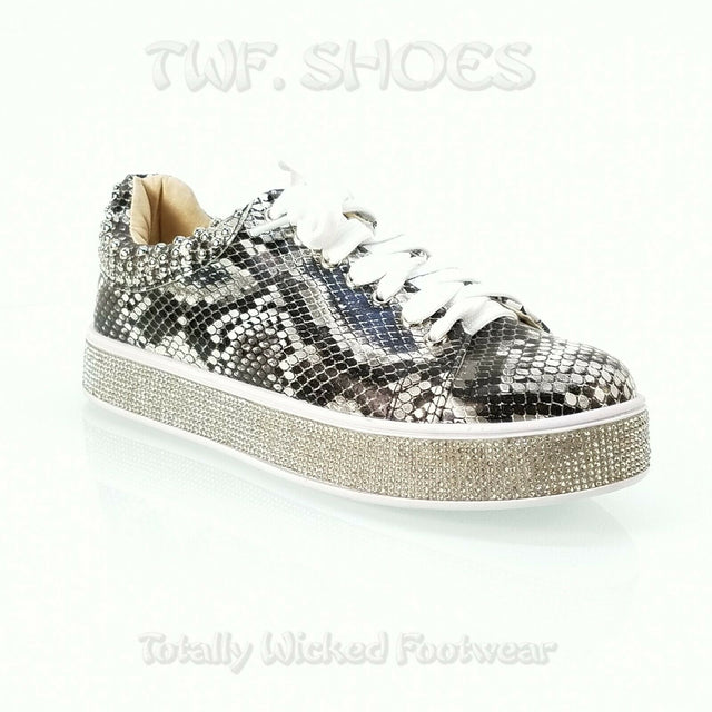 Bling Woman's Jeweled Fashion Sneakers Stud Collar White Snake Texture 7-11