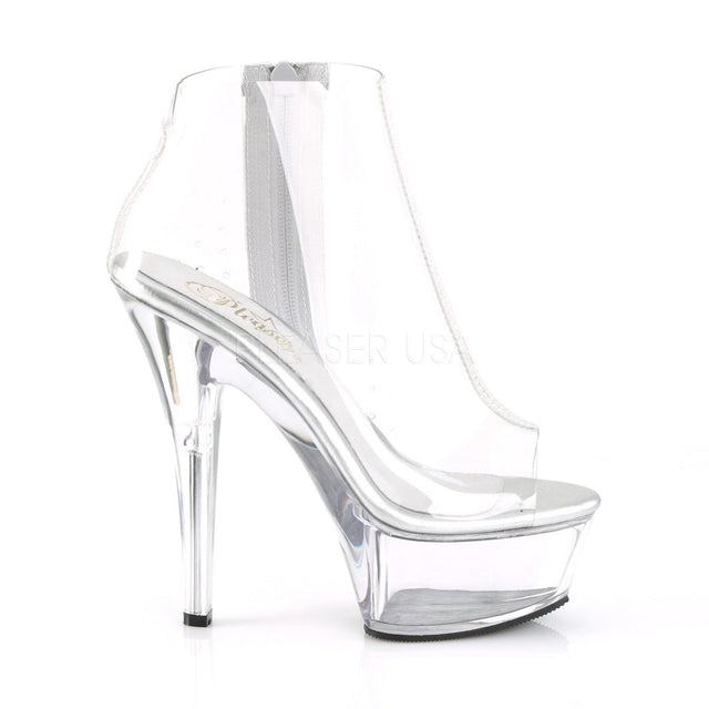 "Kiss 1023 Clear Open Toe Platform Ankle Boots - 6"" High Heel"