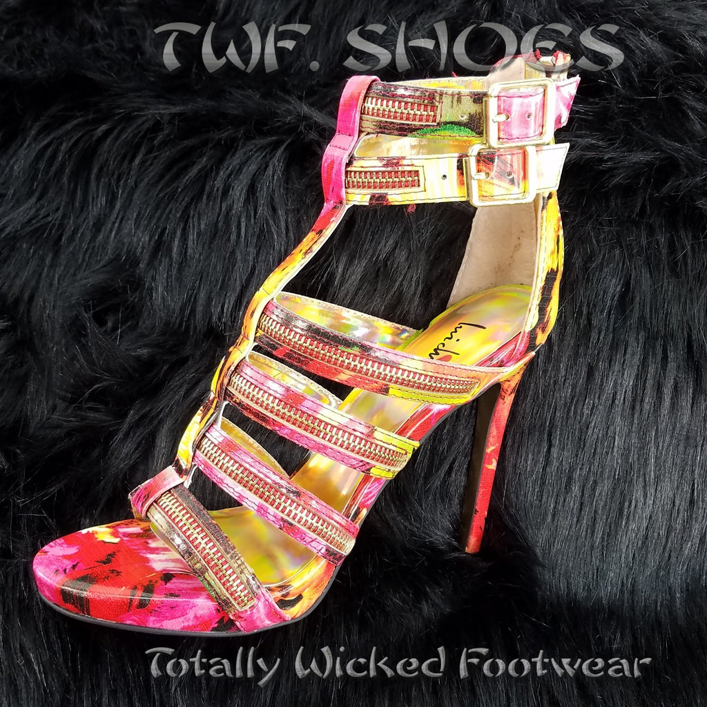 Luichiny Tone It Red Floral Multi Zipper Strap Stiletto Heel Shoe