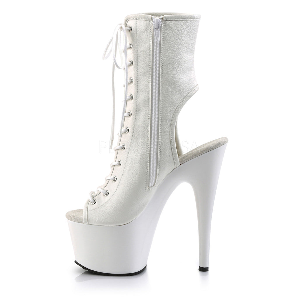 Adore 1016 White Matte Open Toe Lace Up Ankle Boot 7 inch High Heels