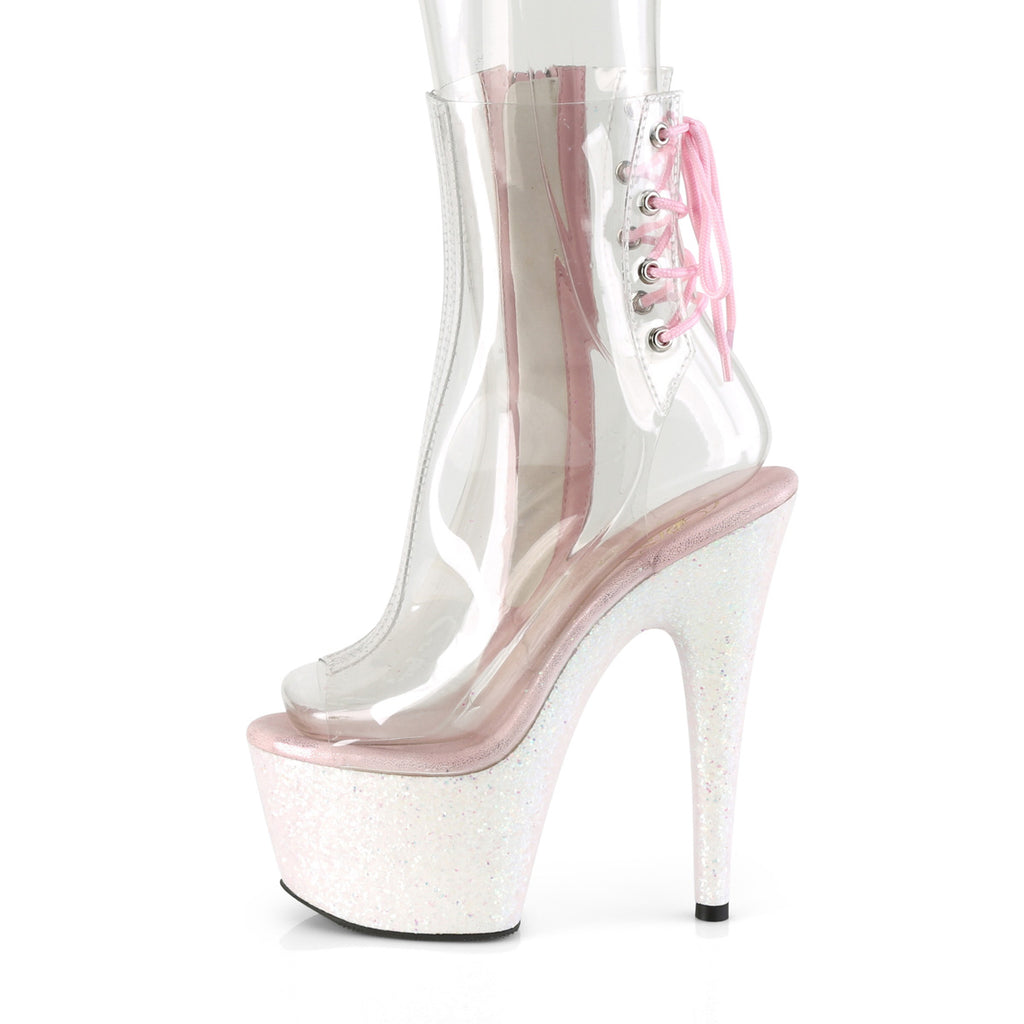 "Adore 1018CG Opal White Glitter 7"" Heel Platform Ankle Boots"