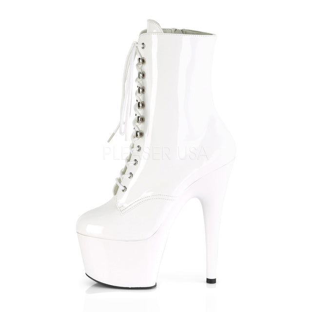 "Adore 1020 Lace Up Ankle Boot White Patent - 7"" High Heels"