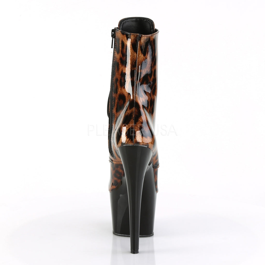 "Adore 1020LP Leopard Patent Lace Up Ankle Boot - 7"" High Heels"