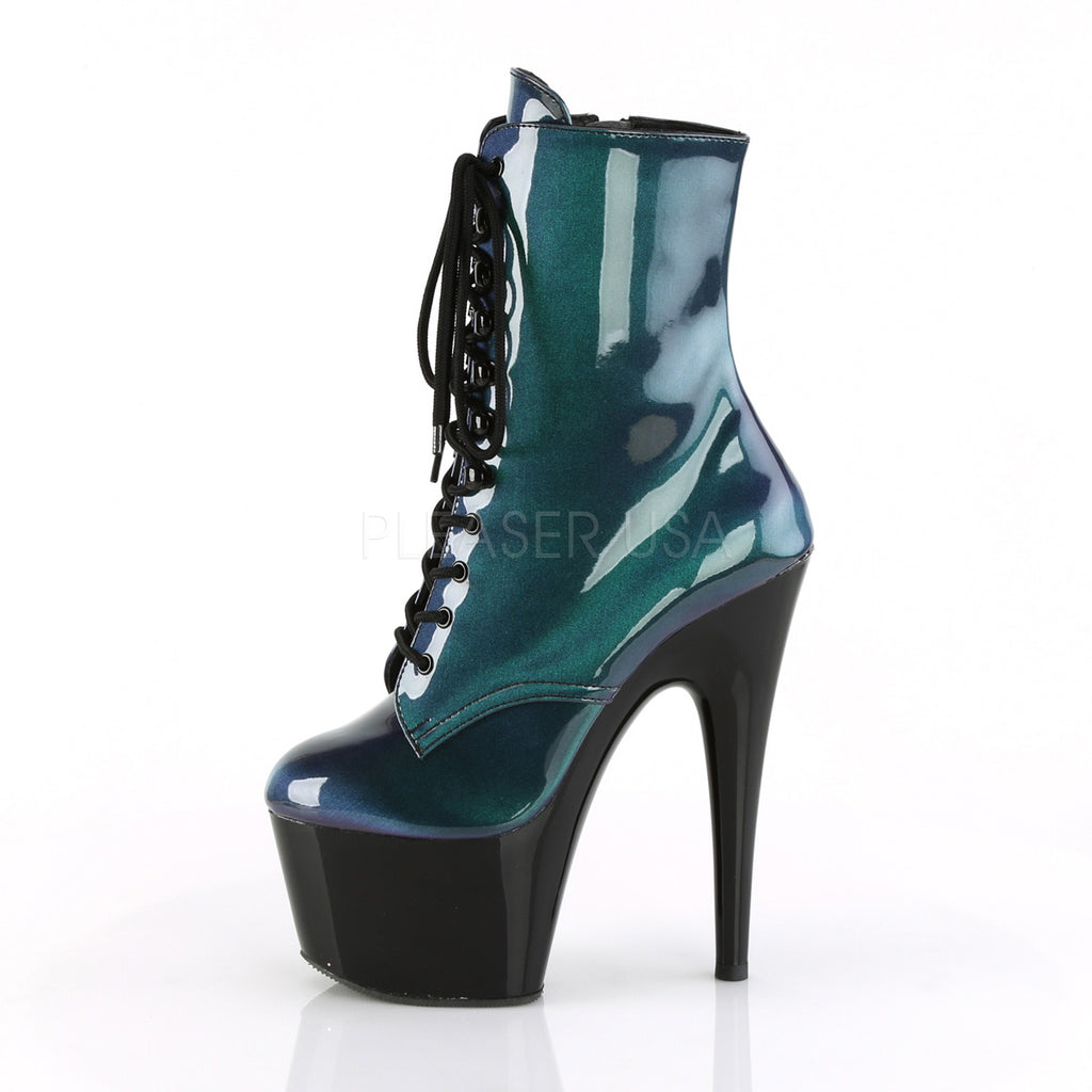 "Adore 1020SHG Green Blended Hologram Lace Up Ankle Boot - 7"" High Heels"